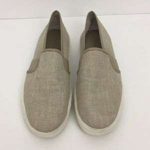 Vince Slip On Blair Woven Straw Linen Sneakers
